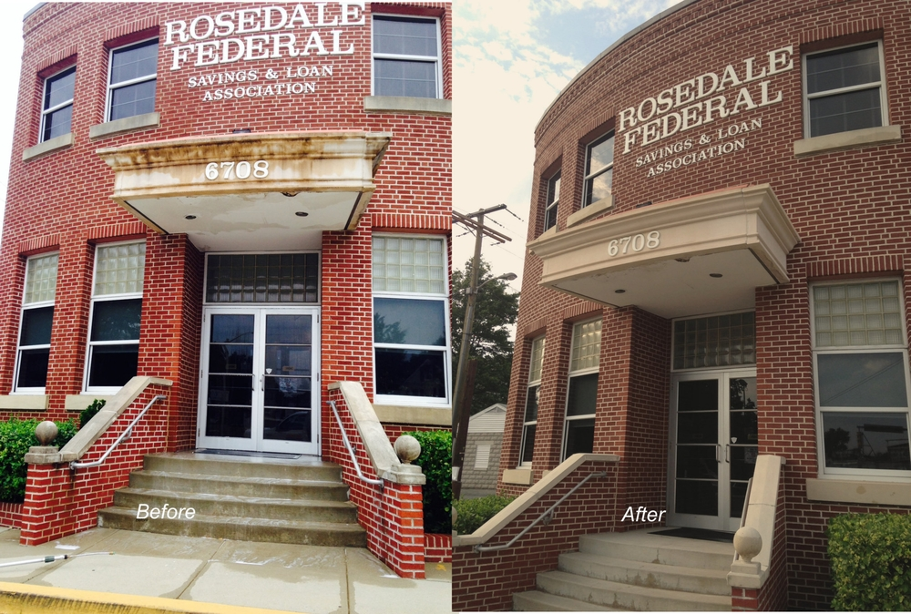 Local commercial bank front entrance before and after pressure cleaning
