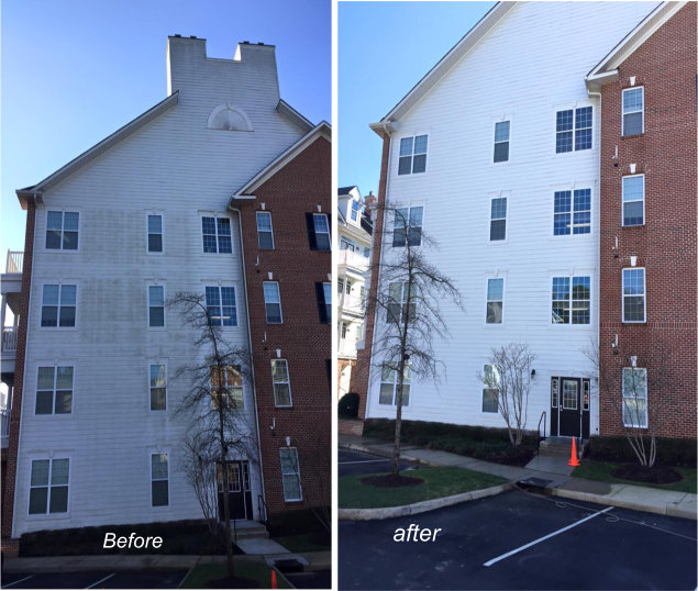 Condo building before and after.