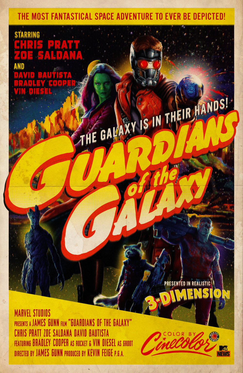 MTV imagines what the poster for Guardians of the Galaxy would look like if it came out in the 1950s.