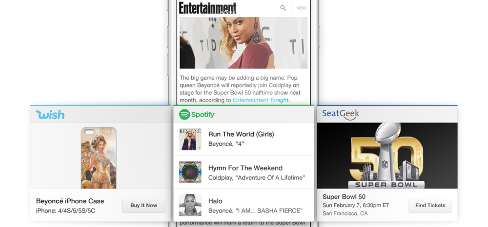 Cards in the AppView Carousel related to Beyonce, Coldplay, and Super Bowl 50.