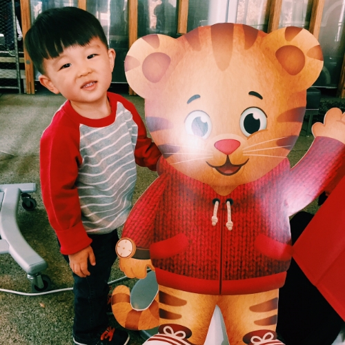 D and his best bud, Daniel Tiger.
