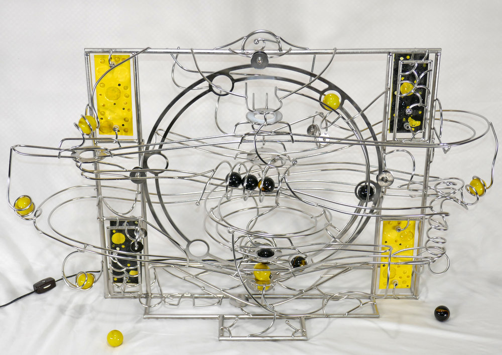 "Rolling ball marble machine - front view of ""Orpiment"" looking downward"