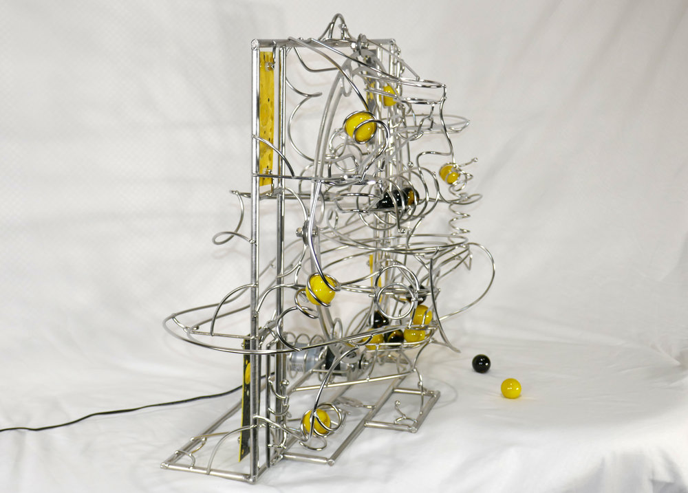 Rolling ball marble machine - side view of kinetic sculpture