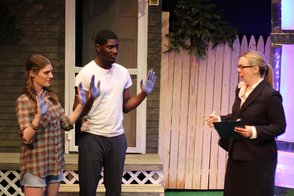 Louise Hamill as Talia, Sheldon Brown as Adams, and Gillian Mackay-Smith as Melanie; Photo by Jessie Baxter
