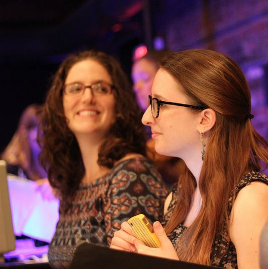 Dramaturg Ramona Ostrowski and playwright Lila Rose Kaplan in  123  rehearsal, 2014.