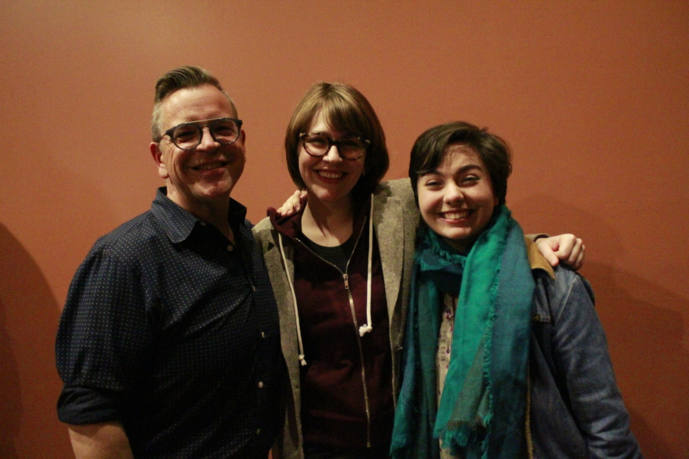 Playwrights David Valdes Greenwood, Lizzie Milanovich, and Katie Grindeland at the Season 5 announcement following the closing performance of The Clytemnestriad.