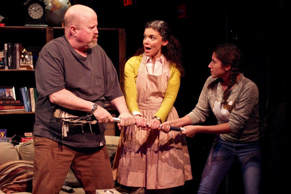 Dale J. Young as Charlie, Margarita Martinez as Adelina, and Alexis Scheer as Kaila