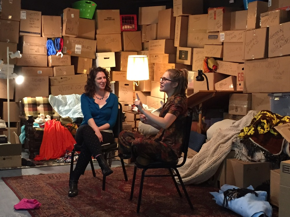 Dramaturg Dori Robinson and playwright Lizzie Milanovich chat with the audience after a performance of It's Not About My Mother, 2015