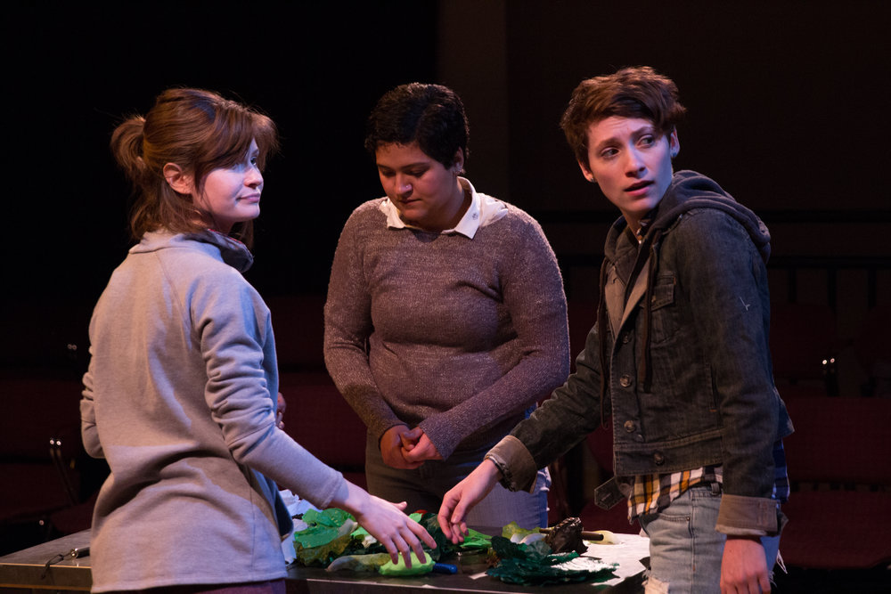 Alex Casillas as Lucy, Emily Elmore as Sasha, and Laura Baronet Chowenhill as Erica