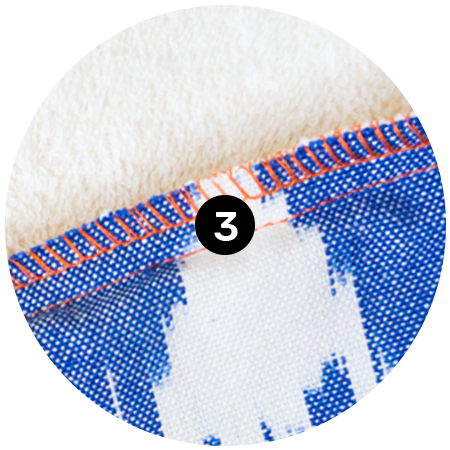 3. Contrasting Double Stitching - The double layers of the towels are stitched together with durable contracting, over-locked stitching.