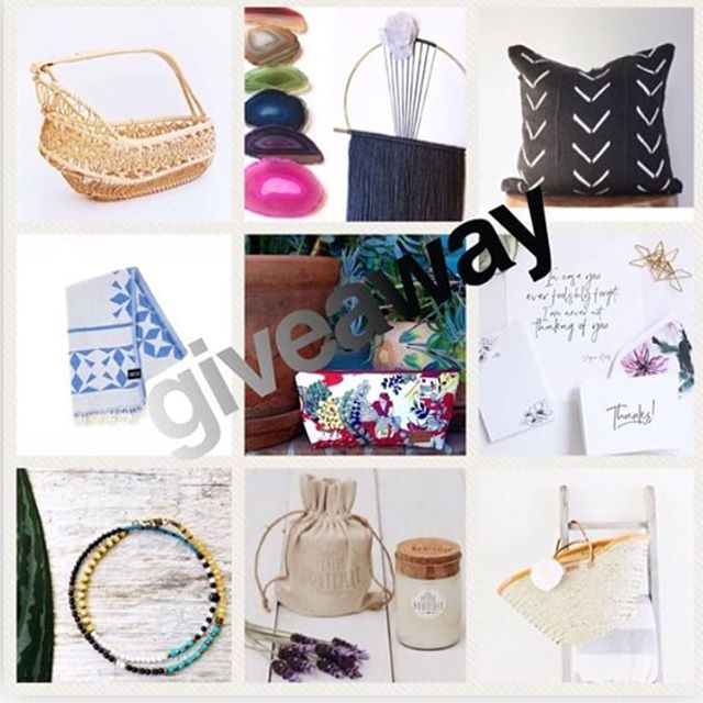 Hey Mamas!!!! Mother's Day Giveaway: Worth $400!!! Rules to enter: 1: Like this photo 2: Follow each business listed below * One Turkish travel towel from @kampandco * A Vintage basket from @sunnyandcheer * One crystal screw cover and five Agate magnets from @suspend.it * 8-pack of Thanks! notecards with artistic liners, notepad and art print from @eastavenuepress * A Vintage barkcloth zippered pouch from @lomaoriginals * One beaded gemstone wrap bracelet from @thenarrowgauge * One mudcloth pillowcase from @loftspacedesigns * One Lavender wine bottle candle with linen jute bag from @lapetitebouteille * One Palm Leaf shopper from @plumandsparrow  3. Tag a minimum of one mama that would love to be surprised by this amazing collection of goods. Extra tags equal extra entries.  4. US Residents only  Good Luck!!