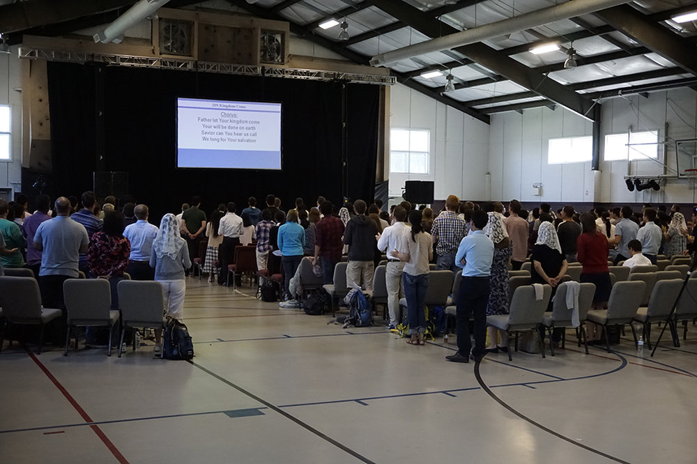 Hundreds of Missionaries from all over the globe piled into our Gym to Worship.