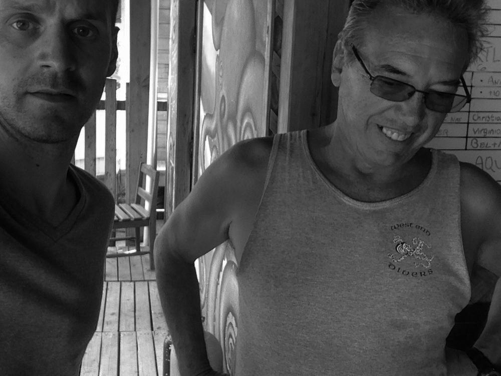 With my friend John, at West End Divers; Roatán, Honduras.