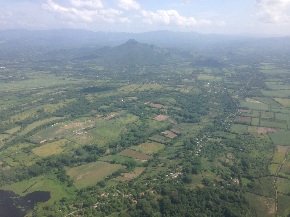 Saying hello and goodbye to San Salvador, from the airplane.