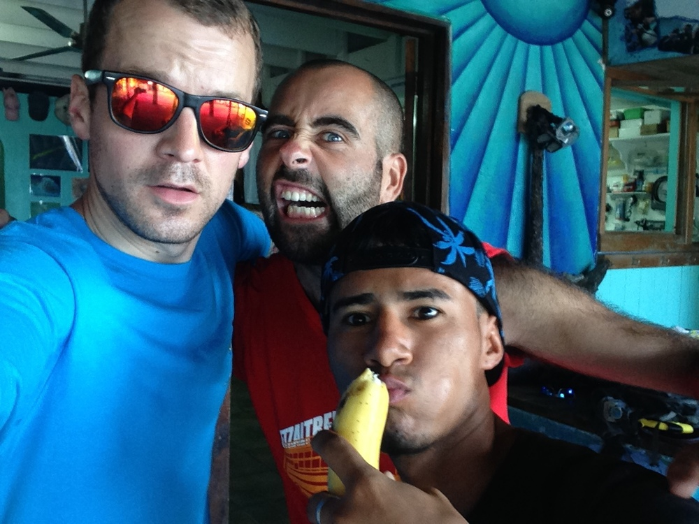 Clowning around with Pete and Darwin at West End Divers; Roatán, Bay Islands, Honduras.