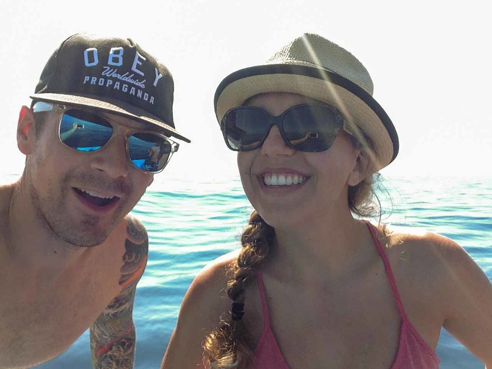 With my dive buddyRobin, off the coast of Honduras in the Caribbean Sea.