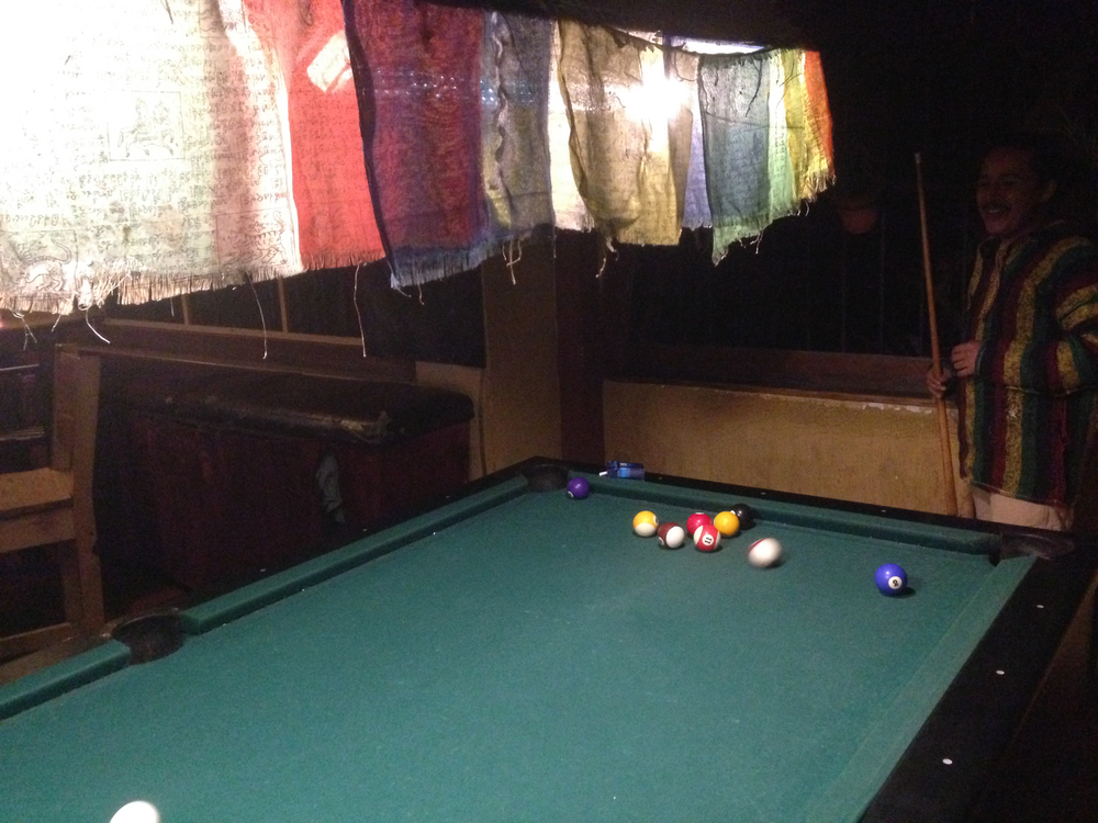 Playing pool at one of the bars in San Pedro La Laguna.
