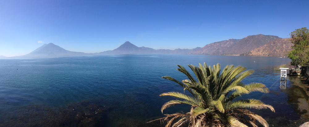 Volcanoes on the shore of Lake Atitlán. View from Panajachel.