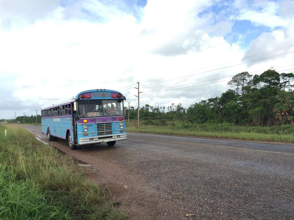 The bus approaching the junction for Hopkins. I hitchhiked from the junction to Hopkins the day prior, and caught the morning bus to Belmopan the following morning before heading onward to San Ignacio.