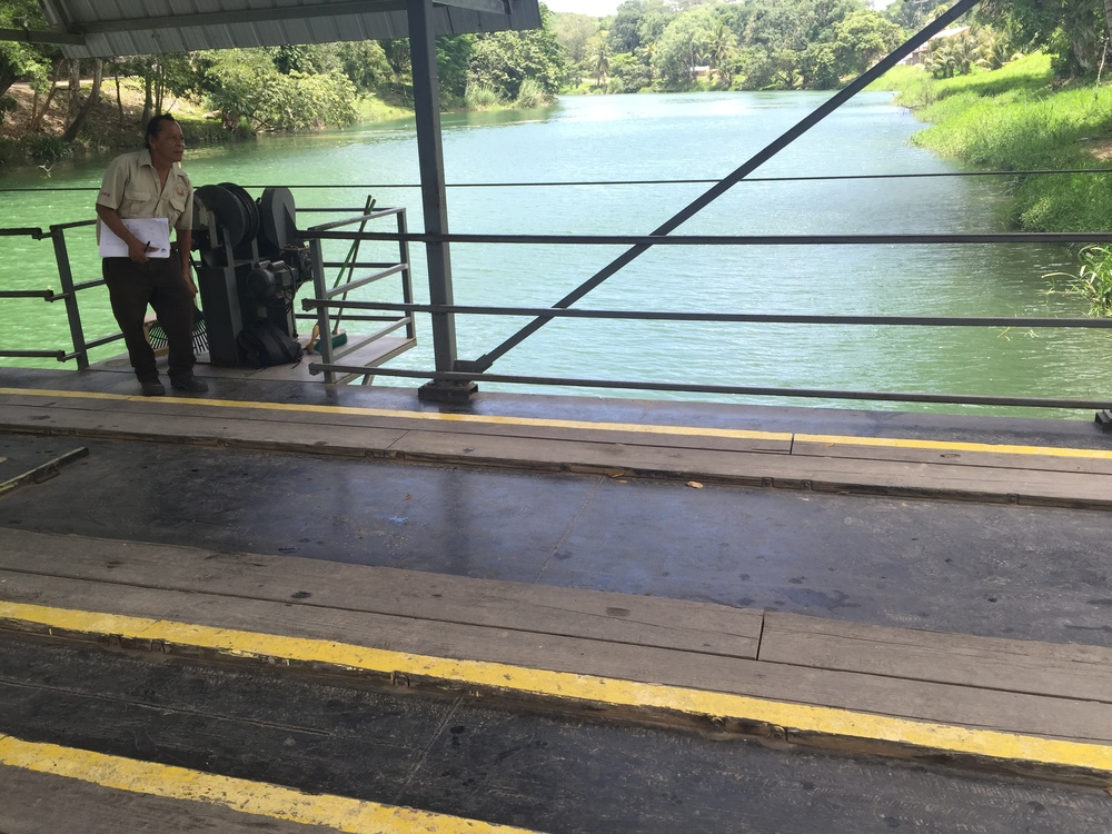 The only way to cross the river and stay dry is on this hand-cranked ferry that takes cars back and forth across the river to Xunantunich. The ride takes about 30 seconds and feels more like a bridge than a ferry.