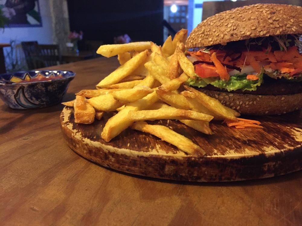Veggie burger at Te Quiero Verde.