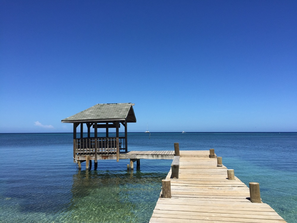The dock in front of where I live; Georphi's, West End, Roatán, Bay Islands, Honduras.