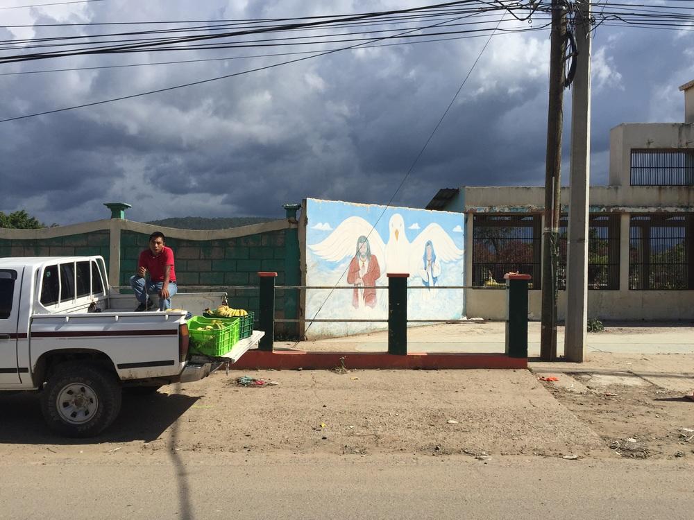Banana truck outside of the cemetery in the highland Lencan community of Intibuca, outside of La Esperanza.