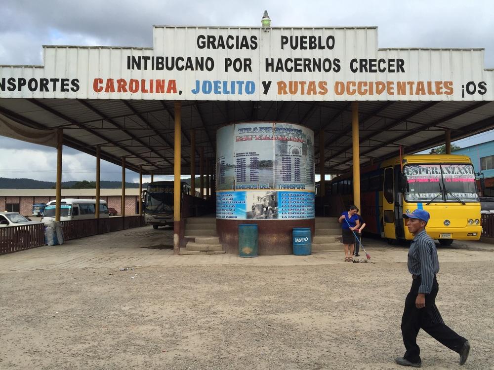 Bus station in the indigenous Lencan community of Intibuca, Honduras.