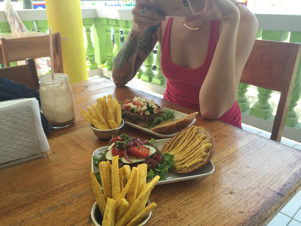 Veggie burgers and smoothies. First meal in Belize. Roots Wraps Reggae or something like that.