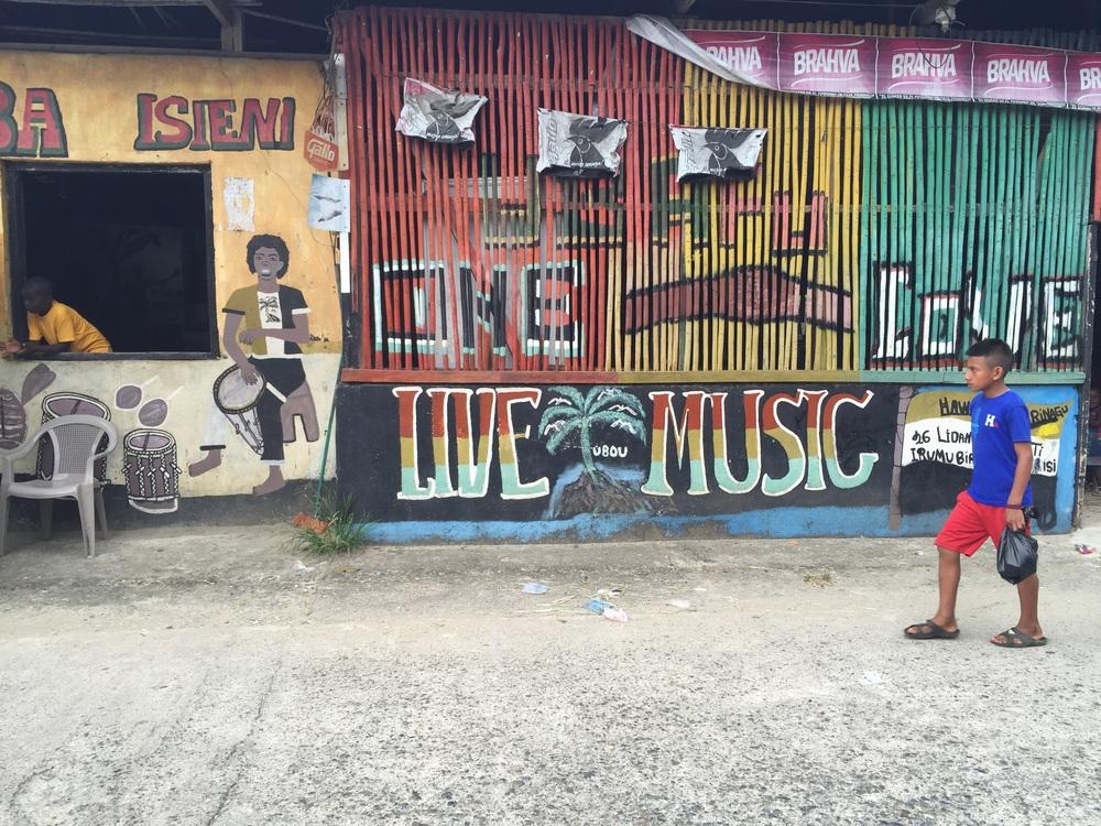 Livingston, Guatemala. Garifuna community with Spanish and Mayan cultures too.