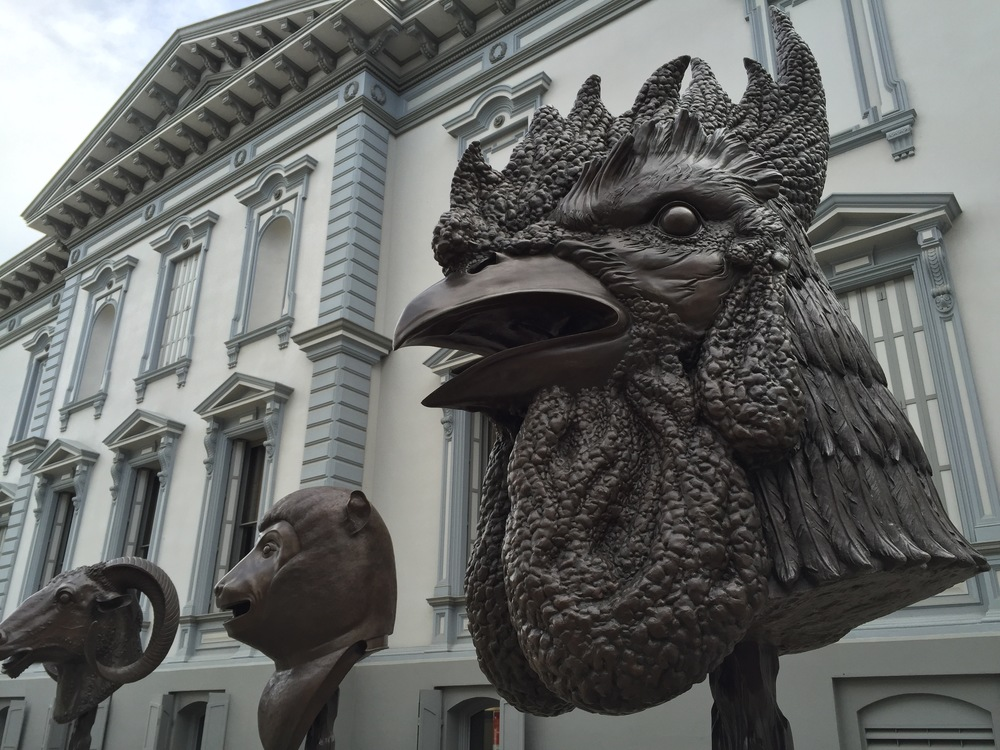 A few of the dozen Chinese Zodiac statues by Ai Weiwei on display at the Crocker Art Museum in Sacramento, California.