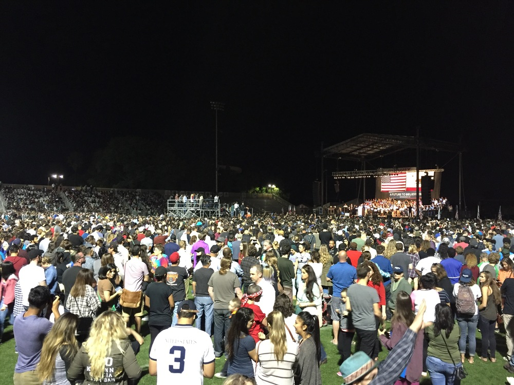 Bernie Sanders in Sacramento. Reportedly 20,000+ people. We waited more than five hours to hear him speak.