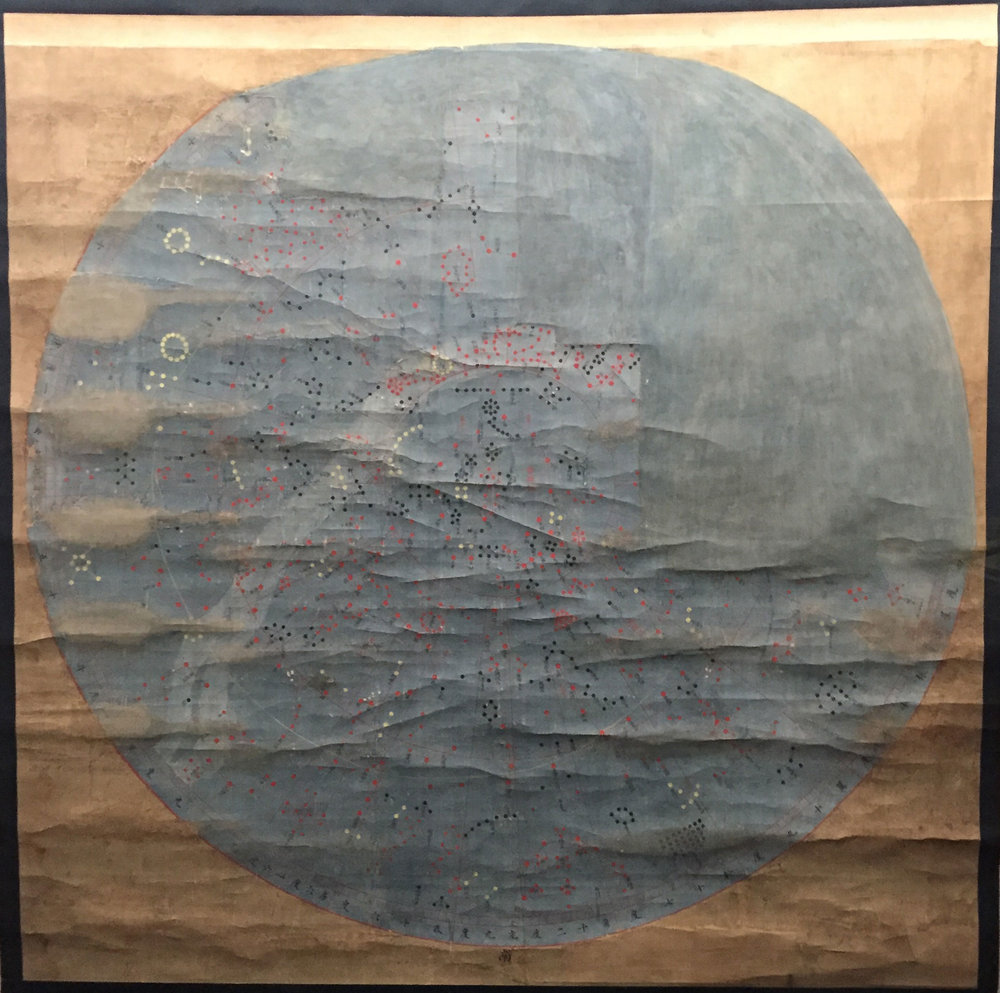 Map of the sky, including constellations and distances, painted on silk during the Ming dynasty (1368 - 1644).