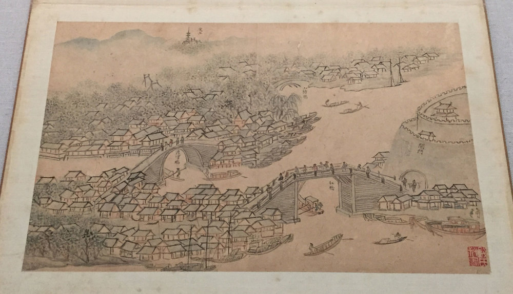 Commissioned by Wang Shizhen during the 16th century, this is one of 84 maps completed by Qian Gu and Zhang Fu during their waterway journey from Taicang to Beijing. Their maps featured actual locations, including real bridges, gates, walls, and buildings that they saw during their 1,000+ kilometer trip.