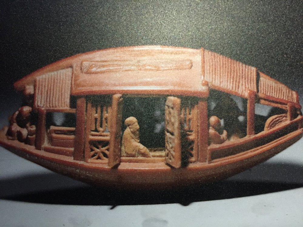 Boat Carved from an Olive Stone (雕橄欖核舟) by Chen Zuzhang (陳祖章).