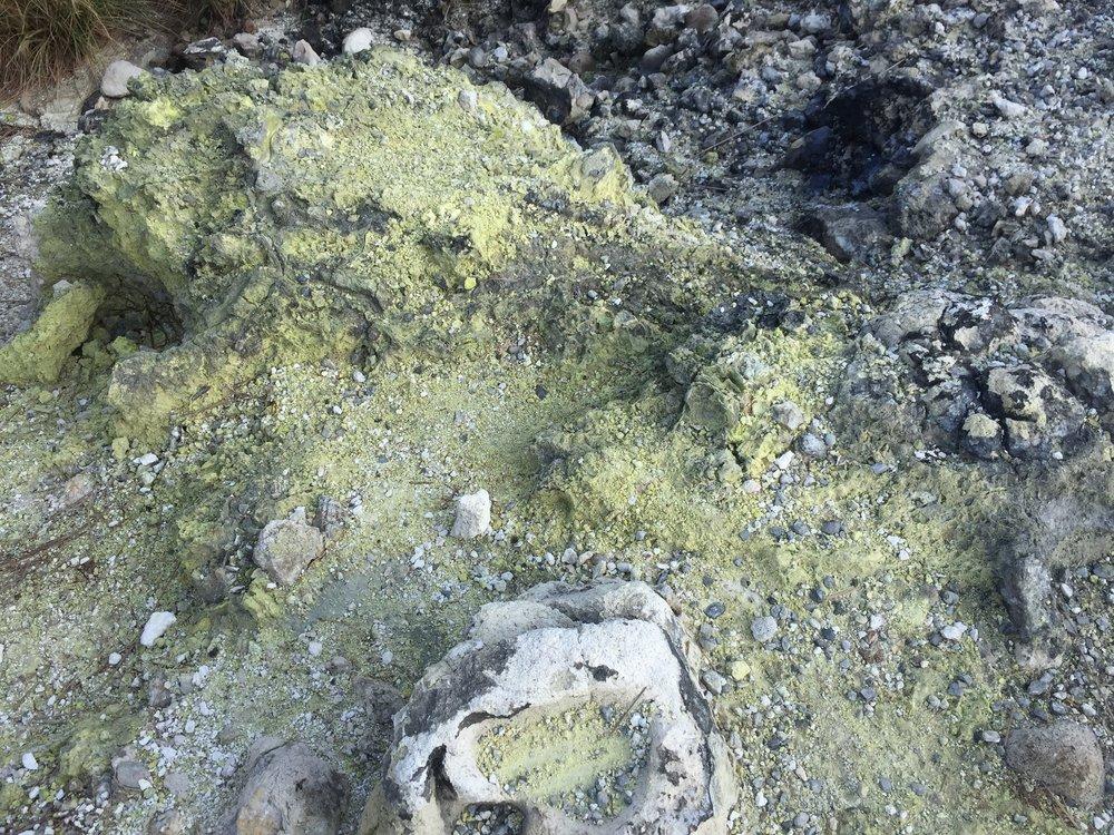 Sulfur at Xiaoyoukeng, part of Yangmingshan National Park in Taiwan.