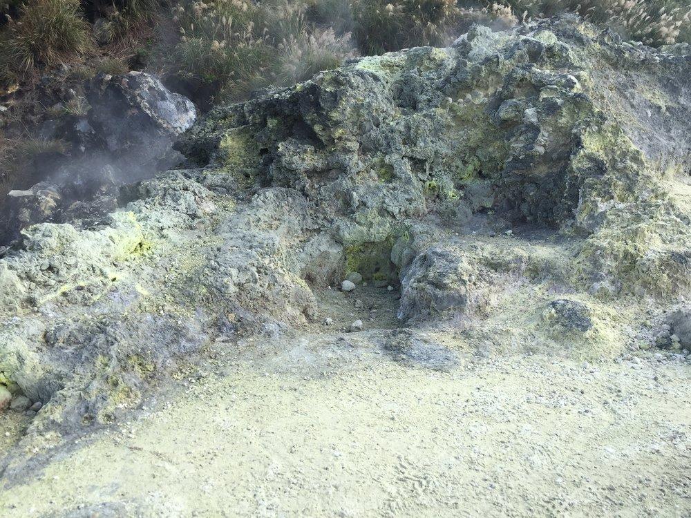 Sulfur and sulfur vents. Yangmingshan National Park in Taiwan.