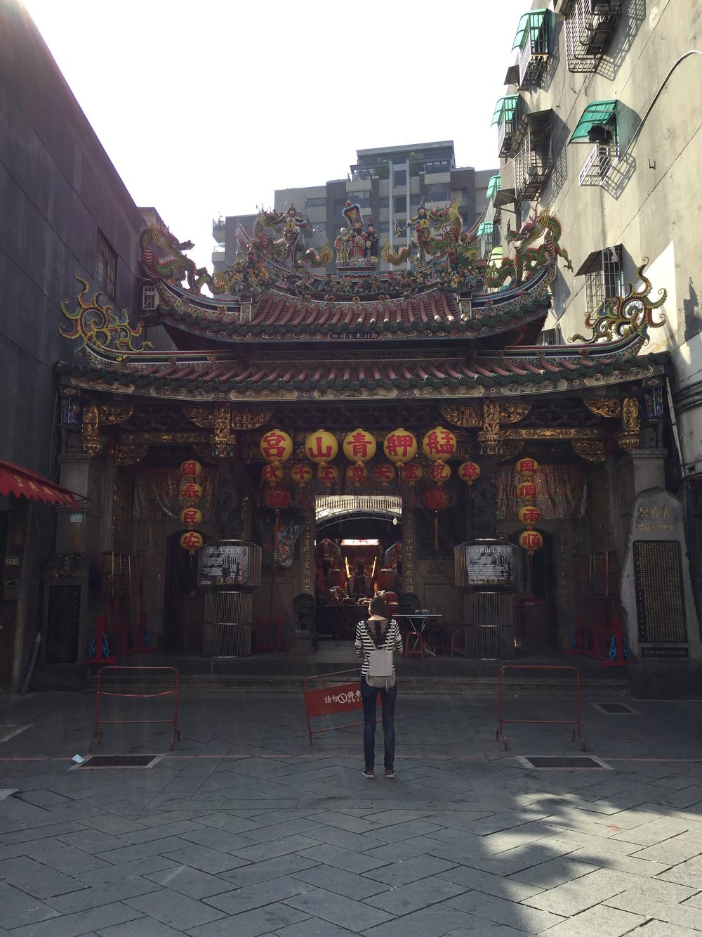 Bangka Qingshan Temple is in Wanhua district, near the more famous Longshan Temple, in Taiwan. It was built in the 1800s and is one of a million local temples found in Taipei. More relaxing than the popular tourist spots, especially if you plan to meditate or pray.