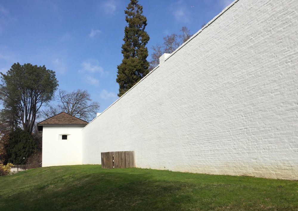 The wall surrounding Sutter's Fort in Sacramento,