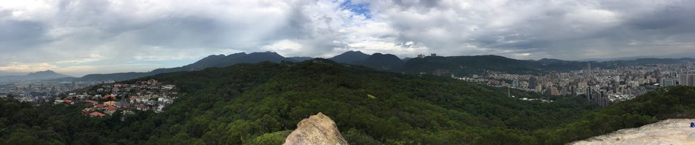 View from atop Junjian Rock hiking trail in Taipei, Taiwan.