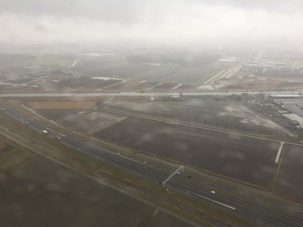 Rainy arrival into Amsterdam.