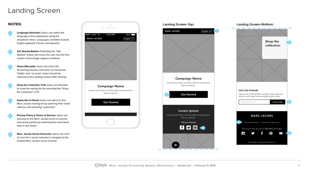 Wireframe Sample: Landing Screen