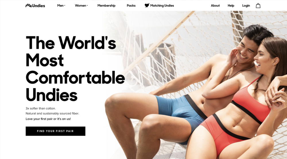 Variant:  MeUndies Perfect Pair Homepage Banner shown to only new users