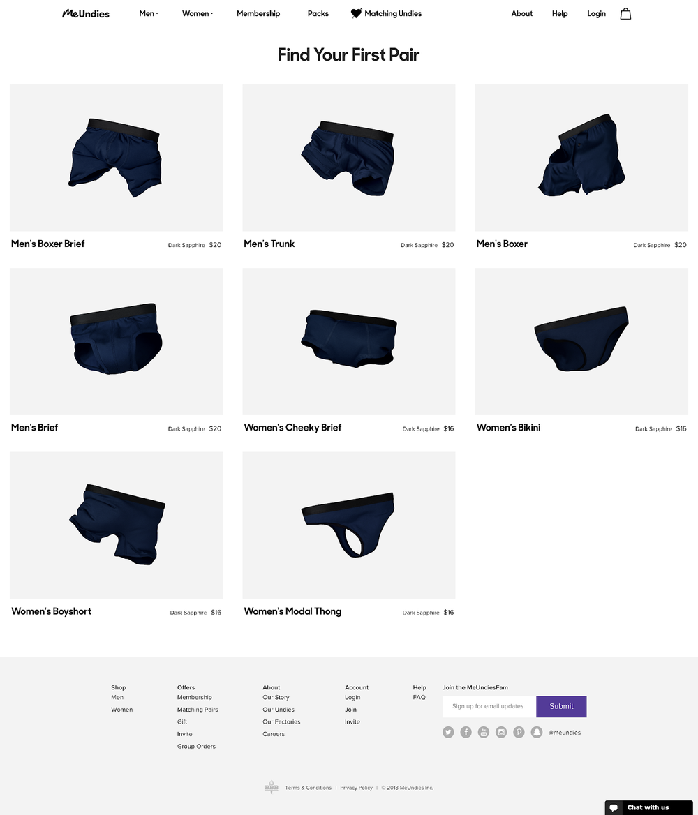 Variant:  Product Listing Page with  only core underwear  products.