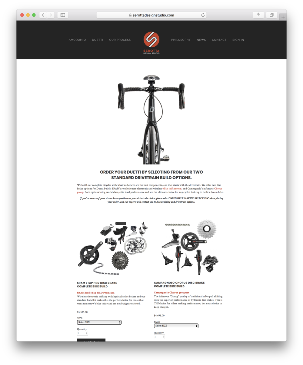 SEROTTA DESIGN STUDIO BIKE BUILD PAGE