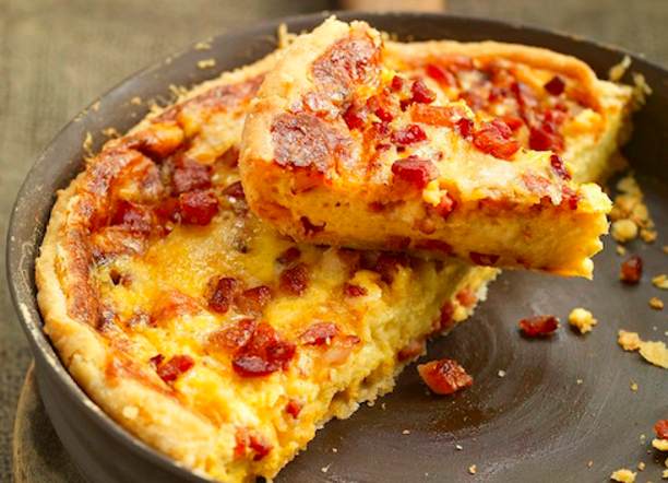Classic Quiche Lorraine - rich custard, cheese and bacon