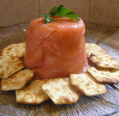 Wild caught salmon mousse wrapped in smoked salmon