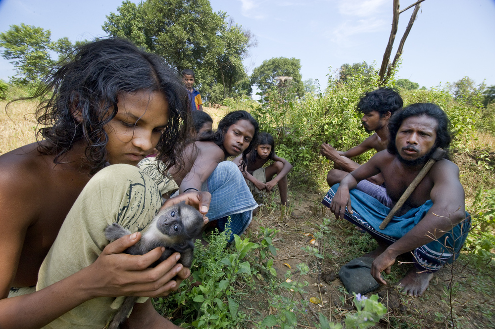 Veddahs in central Sri Lanka, the island's earliest inhabitants, caring for a pet monkey that they adopted after its abandonment. Traditionally from a hunter-gatherer lifestyle, the Veddahs have lost the ability to follow their way of life due to shrinking forests, restrictions on their hunting grounds and lack of communal cohesion.