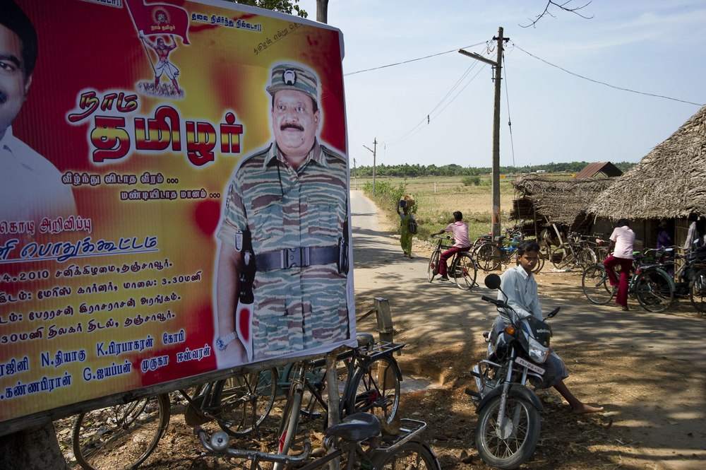 The principles of Tamil nationalism Prabhakharan espoused still hold sway for a number of supporters, as evidenced by this political party billboard near Thanjavur, Tamil Nadu.