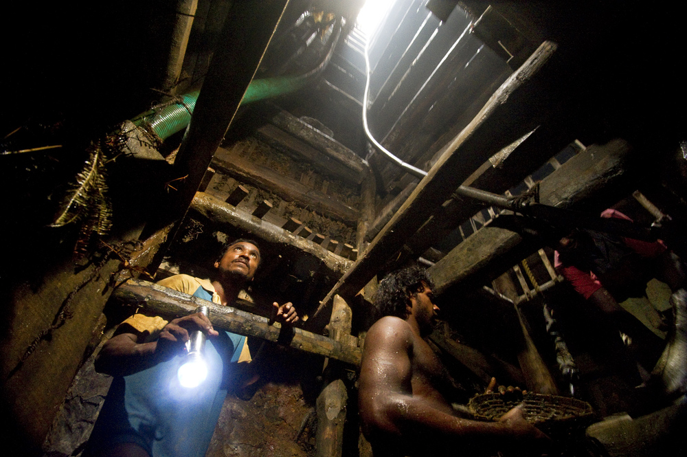 Deep in a ruby mine in central Sri Lanka